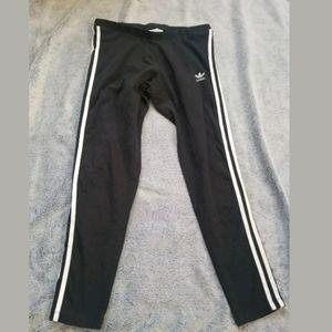 Adidas Black White Striped Leggings Size Large